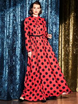 Ericdress Polka Dots Patchwork Long Sleeve Maxi Dress