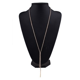 Ericdress Long Simple Full Rhinestone Necklace