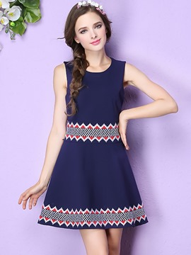 Ericdress Sweet Bohemian Pattern Sleeveless Trumpet Casual Dress
