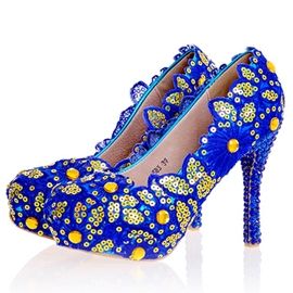 Ericdress Blue Sequins Ultra-High Heel Wedding Shoes