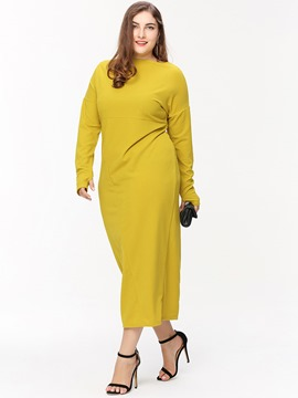 Ericdress Plus Size Stylelines Round Collar Mid-Calf Maxi Dress