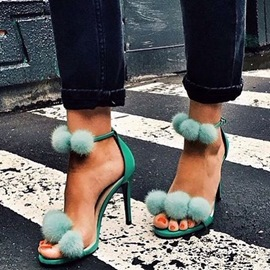 Ericdress Green Fur Ball Decorated Stiletto Sandals