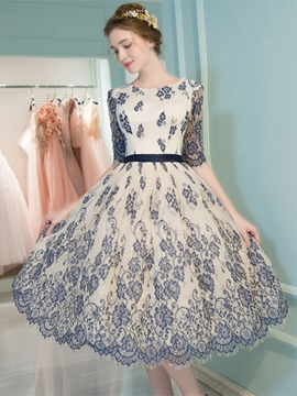 Ericdress A-Line Scoop Half Sleeves Lace Ribbons Tea-Length Prom Dress