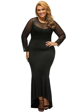 EricdressSolid Color See-Through Plus Size Cocktail Maxi Dress