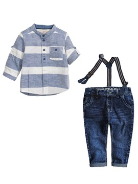 Ericdress Stripe Shirt Suspenders Jeans 2-Pce Boys Outfit