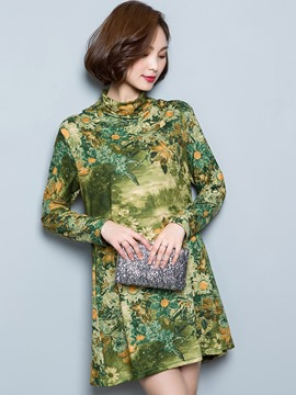 Ericdress Turtleneck Floral Print A-Line Pleated Casual Dress