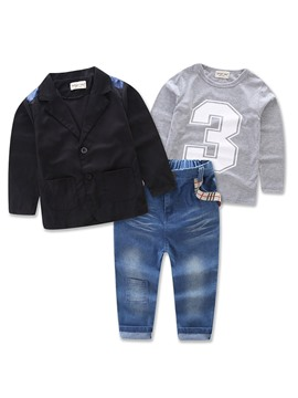 Ericdress Three-Pieces T-Shirt Blazer Jeans Boys Outfit