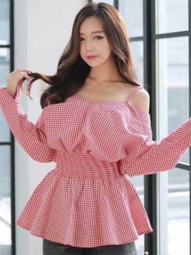 Ericdress Slim Off-Shoulder Plaid Blouse