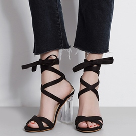 Ericdress Roman Lace up Crystal Chunky Sandals