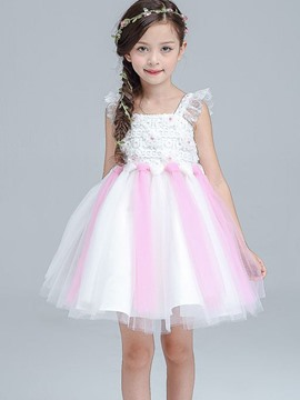 Ericdress Lace Sleeveless Ball Gown Girls Dress