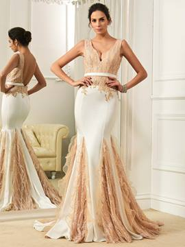 Ericdress Charming V Neck Backless Mermaid Color Wedding Dress