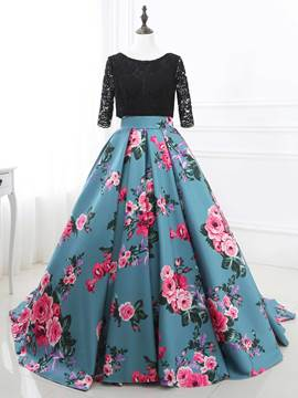 Ericdress Bateau Ball Half Sleeves Lace Printed Quinceanera Dress With Sweep Train