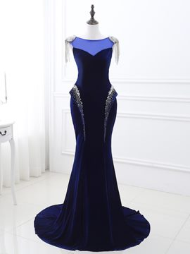 Ericdress Vintage Bateau Beading Tassel Sweep Train Mermaid Evening Dress