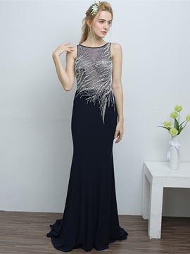 Ericdress Sheath Beaded Long Evening Dress With SweepTrain