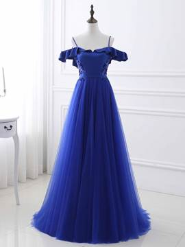 Ericdress A-Line Spaghetti Straps Short Sleeves Ruffles Sequins Evening Dress With Sweep Train