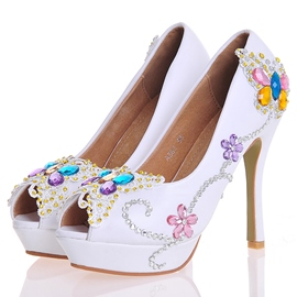 Rhinestone Peep Toe Wedding Shoes