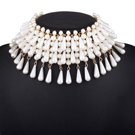 Ericdress Multilayer Imitation Pearl Choker Necklace