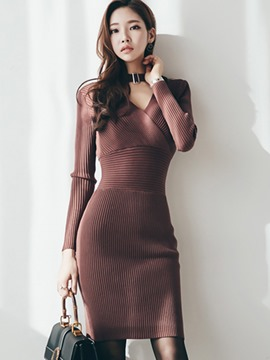 Ericdress V-Neck Halter Cross Patchwork Sweater Dress