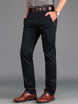 Ericdress Solid Color Straight Casual Slim Men's Pants