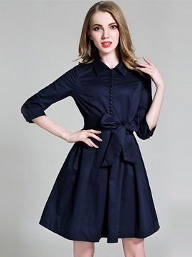 Ericdress Sweet Single-Breasted Lapel Lace-Up Pleated Casual Dress