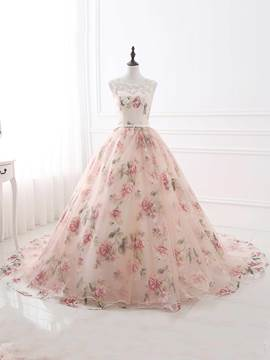 Ericdress Ball Appliques Beading Printed Evening Dress With Court Train