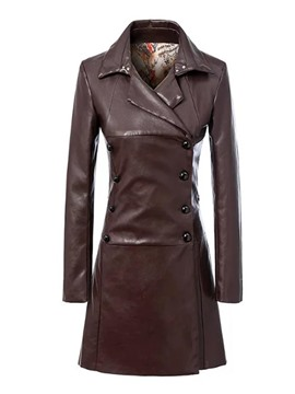 Ericdress Solid Color Slim Polo PU Trench Coat