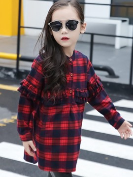 Ericdress Plaid Button Long Sleeve Falbala Fall Girls Dress