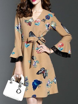 Ericdress Flare Sleeve V-Neck Animal A Line Dress