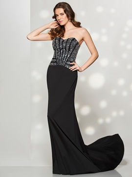 Ericdress Sexy Sheath Mermaid Sweetheart Beaded Sequin Sweep Train Prom Dress