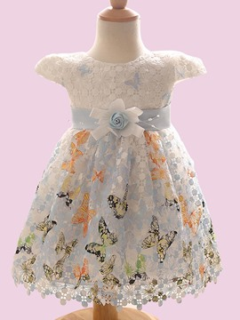 Ericdress Lace Butterfly Print Sleeveless Girls Dress