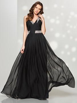 Ericdress A Line Beaded Sequin Floor Length Long Prom Dress
