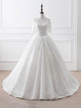 Ericdress Elegant Off The Shoulder Half Sleeves Ball Gown Lace Wedding Dress