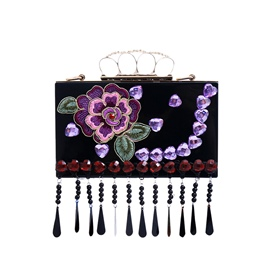 Ericdress Vintage Embroidery Peony Rhinestone Evening Clutch