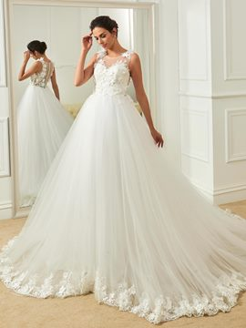 Ericdress Scoop Appliques Flowers Ball Gown Wedding Dress