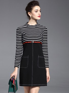 Ericdress Strip Patchwork Belt Patchwork Pocket Casual Dress