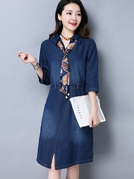 Ericdress Stylelines Lapel Pullover Denim Casual Dress