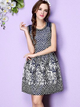 Ericdress Mesh See-Through Houndstooth Floral Print Pleated Casual Dress