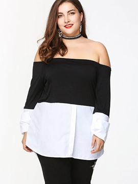 Ericdress Plus Size Color Block Slash Neck Blouse