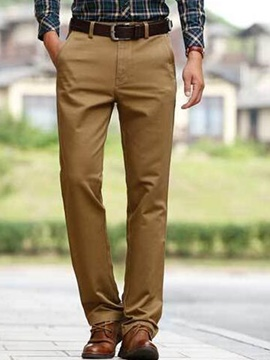 Ericdress Solid Color Straight Plus Size Men's Pants