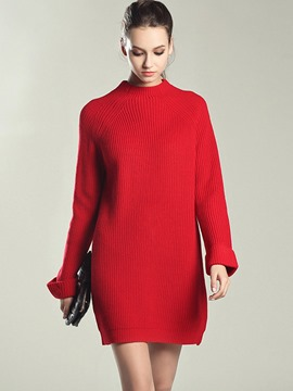 Ericdress Cowl-Neck Weave Loose Above Knee Sweater Dress