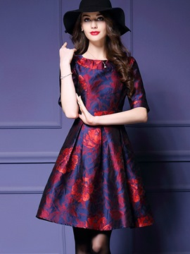 Ericdress Round Collar Patchwork Floral Print Pleated Casual Dress