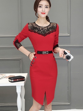 Ericdress OL Mesh Patchwork Belt Button Split Sheath Dress