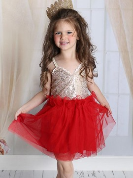 Ericdress Sequins Spaghetti Strap Patchwork Girls Dress