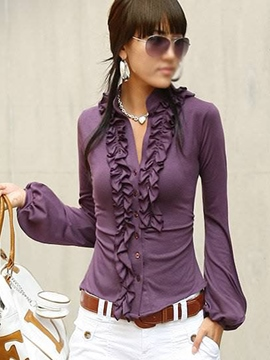Ericdress Falbala Patchwork V-Neck Purple Blouse