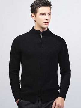 Ericdress Solid Color Zip Warm Slim Men's Sweater