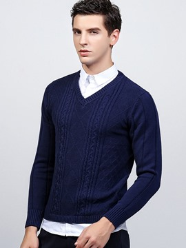 Ericdress Solid Color V-Neck Jacquard Pullover Men's Sweater