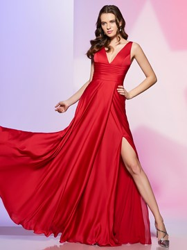 Ericdress Sexy Deep Neck A Line Side Slit Long Prom Dress