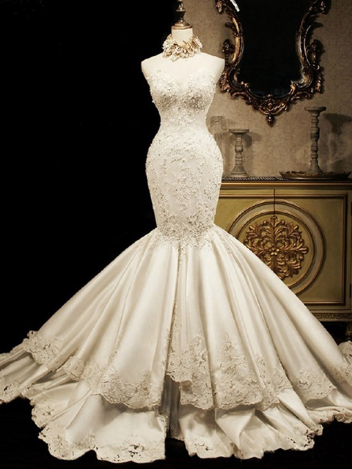 Ericdress Sweetheart Appliques Beaded Mermaid Wedding Dress