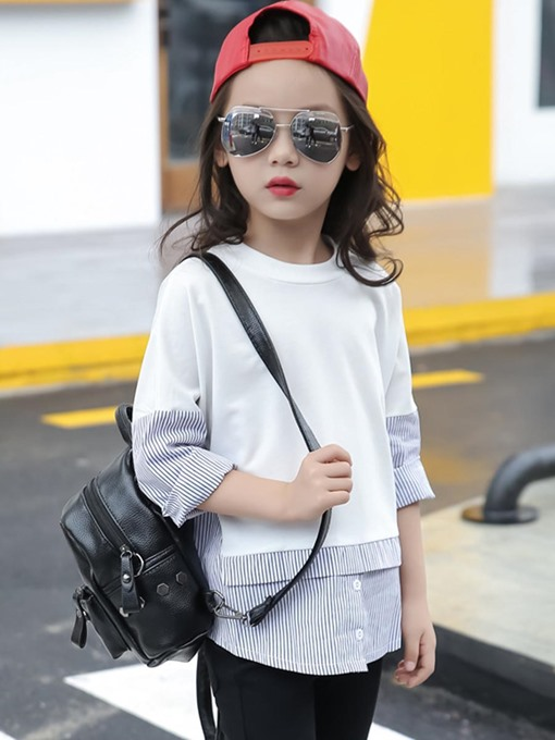 Ericdress Chic Stripe Patchwork Long Sleeve Faux Two-Piece Girls T-Shirt