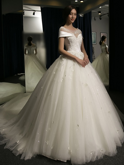 Ericdress Cap Sleeve Appliques Ball Gown Wedding Dress